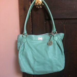 Turquoise Leather Shoulder Bag
